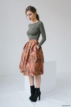spódnice-Żakardowa spódnica midi
