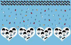Beatles Love Music Novelty Border Print Fabric