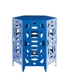 Ginger Blue powder-coated–steel table (22 inches high), $299  www.crateandbarrel.com