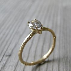 Pear White Sapphire Twig Ring in Gold $730