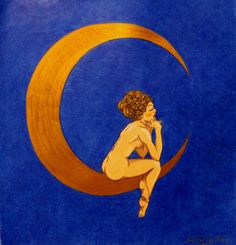 Approximately 9x9 colored pencil drawing. A woman with stars in her hair is sitting on a gold metallic moon. The different colors of the night sky can be seen in the background crosshatching. There is a circular pattern on the moon.