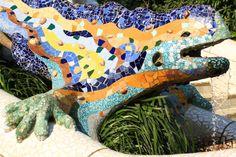 La famosa fuente del dragón del Parque Güell.
