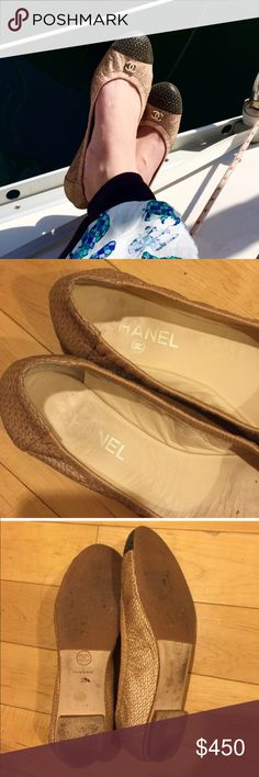 Chanel CC Ballet Flats Shoes PRICE FIRM. PLEASE READ: It's official size is 39, however, it fits me and I wear a US 7.5. Some high end designer shoes have confusing sizing so please research and ask Questions before buying. Worn a few times, in good preowned condition. See photos. It has gold thread with a dark toe cap. No trades please don't ask. $300 on the other one CHANEL Shoes Flats & Loafers