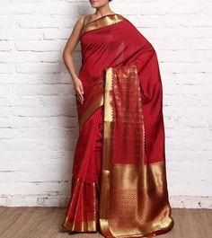 Red & Golden Zari Woven Raw Silk Saree