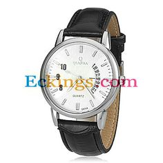 Men's Calendar Silver Round Dial PU Band Quartz Analog Wrist Watch : Online Shopping for Watches, Toys & more