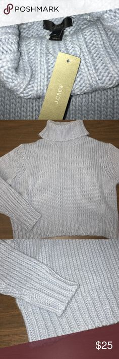 NWT J. Crew Knit Turtleneck NWT! J. Crew size Petite large. Would fit a standard medium as well. Light periwinkle blue thick Knit Turtleneck sweater. Full length sleeves. Neck, sleeve ends, & bottom hem are all knit ribbed. 45% Wool 30% Acrylic 25% Alpaca. Price tag: $98.00 J. Crew Sweaters Cowl & Turtlenecks