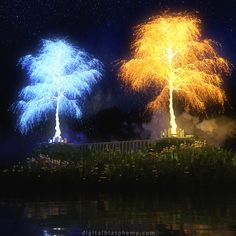 The two trees of Valinor (from digitalblasphemy.com) - they look like those fireworks that rain down like willows.