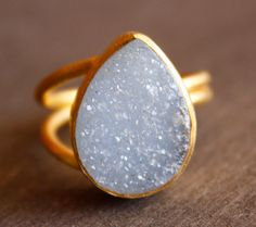 Ice Blue Agate Druzy Ring  Teardrop Ring  Baby Blue by OhKuol, $75.00