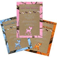 Blue, Orange, Pink Camo Baby Shower Invitation