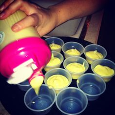 Pudding shots made in a protein shaker :)