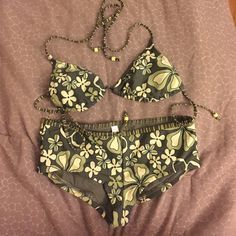 Esprit Bikini Set Esprit Bikini Set. Green floral print. Never worn. Took tags off to wash. Top and bottom are both size small ESPRIT Swim Bikinis