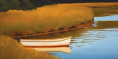 Jim Holland (1955 - Present), American Artist - Rowboat and Reeds - 15 x 30