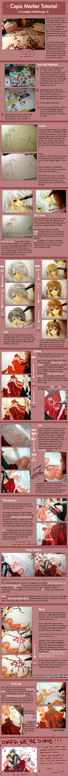 Copic Marker Tutorial I by *cartoongirl7 on deviantART  im awful with markers... i need to work on it.