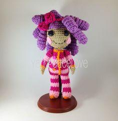 #lalaloopsy inspired crochet doll by #yarnpeacelove  www.facebook.com/YarnPeaceLove