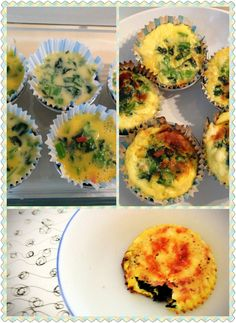 Breakfast quiche cups (spinach, cheddar cheese and mock ham)