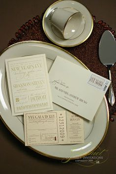 Shannon + Steven: New Year's Gala Wedding Invitations - Gourmet Invitations