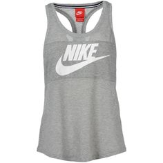 Nike Top ($33) ❤ liked on Polyvore featuring tops, shirts, sport, tank tops, tanks, light grey, nike, sports jerseys, nike jerseys and sport jerseys
