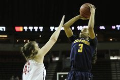 Bonnie Samuelson defends vs CAl in the 2015 Pac-12 Women's Basketball Tournament championship game