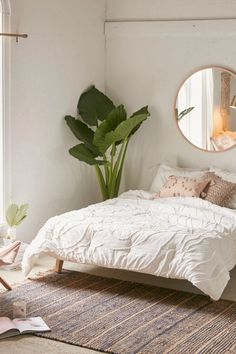 Urban Outfitters Margot Tufted Floral Comforter Snooze Set - March 02 2019 at Cozy Bedroom, Home Decor Bedroom, Modern Bedroom, Bedroom Ideas, Bedroom Designs, White Comforter Bedroom, Minimalist Bedroom Boho, Clean Bedroom, Bedroom Simple