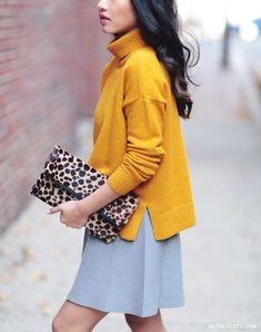 Fall fashion // petites mustard yellow sweater, gray skirt, leopard clutch
