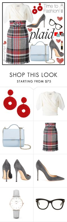 """""""Check it!"""" by mypointofstyle on Polyvore featuring moda, Kenneth Jay Lane, Lanvin, Givenchy, Oscar de la Renta, Gianvito Rossi, CLUSE, Tom Ford, L'Oréal Paris y plaid"""