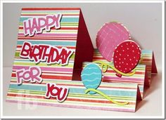 Happy Birthday For You created by Frances Byrne using Balloons Step-Ups Card Framelits – Sizzix