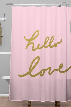 Lisa Argyropoulos hello love pink Shower Curtain | DENY Designs Home Accessories