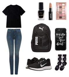 """On sport"" by queenofthestars-1 ❤ liked on Polyvore featuring NYDJ, NIKE, Puma, Casetify, Barry M, NYX, Maybelline and Happy Socks"
