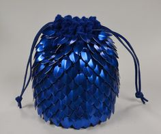 Scale mail Dice Bag of Holding Knitted Dragonhide Blue. $42.00, via Etsy.