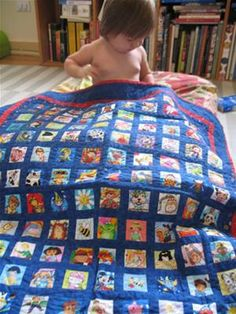 This quilt is a version of the I Spy quilt. I love the idea of using faces in all of the squares because babies respond to faces. There are 140 faces in this quilt!