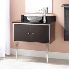 """30""""+Alphonse+Stainless+Steel+Wall-Mount+Vessel+Sink+Vanity+-+Black"""