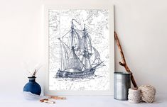 Hey, I found this really awesome Etsy listing at https://www.etsy.com/listing/198416952/vintage-ship-print-nautical-nursery