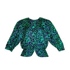 Elegant Emerald Green & Black Vintage Abstract Floral Patterned Women's Blouse