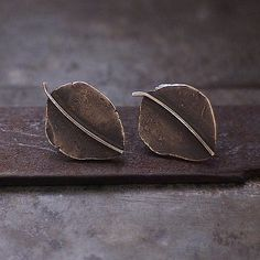 Hey, I found this really awesome Etsy listing at https://www.etsy.com/listing/204929893/leaves-studs-oxidized-sterling-silver