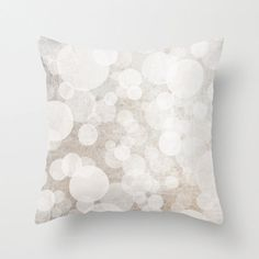 Pillow Cover, Bubbles Pillow, Circles, White, Bubbles Illustration, Cream, Mocha, Neutral Decor, Sophisticated, 16x16, 18x18, 20x20