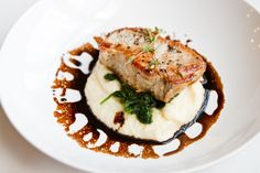 RECIPE - Pan roasted pork chop, parsnip puree, orange spinach, and a balsamic vinegar reduction.