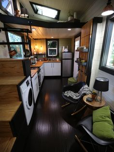 Adorbs Tiny Homes This Modern Zen tiny house is the perfect fit for a young couple with dreams of traveling the world. See more of this chic space on HGTV's Tiny Luxury. Tiny House Plans, Tiny House On Wheels, Casa Loft, Tiny House Nation, Tiny House Movement, Tiny Spaces, Tiny House Living, Tiny House Design, Little Houses