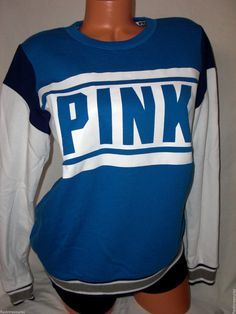 New s Victorias Secret Pink Varsity Crew Sweatshirt Royal Blue Cotton Poly RARE | eBay