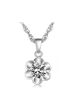So Pretty! Diamante and Silver Sunflower Soft Beautiful Crystal Necklace