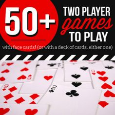 HUGE list of card games for two players! All you need is a deck of cards. These fun 2 player card games are perfect for date night or quality time together. Family Card Games, Fun Card Games, Card Games For Kids, Playing Card Games, Outdoor Games For Kids, Outdoor Toys, Fun Games, Indoor Games, Party Games