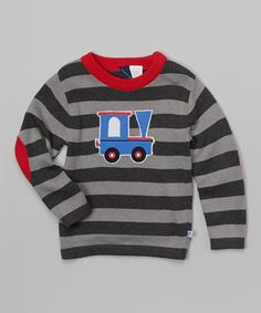 Love this Gray & Red Train Stripe Sweater - Infant, Toddler & Boys on #zulily! #zulilyfinds