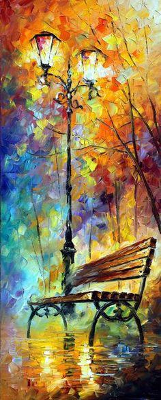 """Set de pinturas tríptico - Aura de otoño (juego de 3): 3 piezas pared arte pintura al óleo sobre lienzo de Leonid Afremov. Tamaño: 16 """"X 40"""" cada por AfremovArtStudio"""