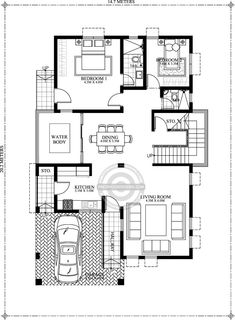 Looking for a 5 bedroom house plan? Bernardino model is here for you. With its 308 sq. total floor area this house can accommodate a medium to big family. 2bhk House Plan, Model House Plan, Duplex House Plans, Bungalow House Plans, Bungalow House Design, 40x60 House Plans, Story House, Modern House Floor Plans, Contemporary House Plans