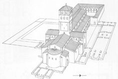 Reconstitution de l'élévation de Cluny II : 963-981, sous l'abbatiat de Maïeul. Cluny, Age, French, Architecture, History, Roman, Arquitetura, French Language, Architecture Design