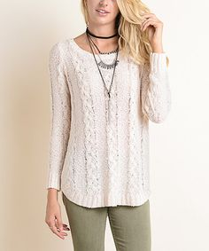 This Blush Cable-Knit Sweater is perfect! #zulilyfinds