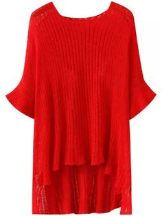 Red Round Neck Batwing Sleeve Dip Hem Sweater 14.67