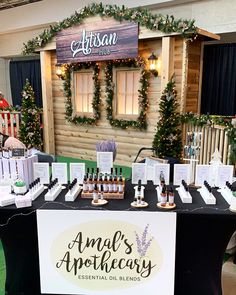 #booth #boothdesign #display #market  #essentialoils Essential Oil Blends, Essential Oils, Booth Design, Apothecary, Artisan, Display, Table Decorations, Christmas, Home Decor