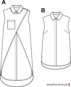Технический рисунок готовой выкройки платья-рубашки