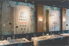 urban-modern, backdrop, typography, terranium, w. scott chester photography #wedding #event #decor #tablesetting