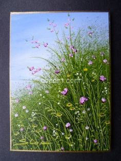 ACEO Original Miniature Oil Painting Wildflowers by SandieCoeArt, £20.00